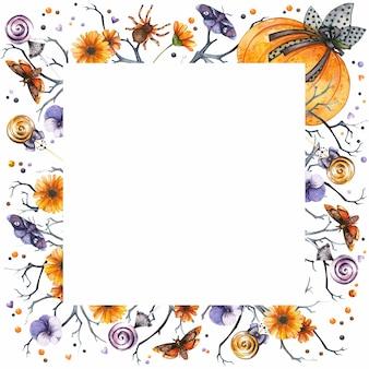 Moldura quadrada de halloween com aquarela abóbora flores góticas de outono, aranhas e borboletas