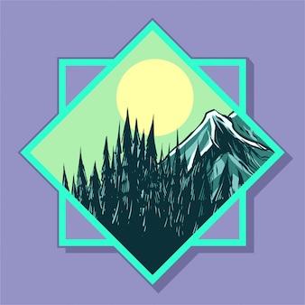 Moldura quadrada de logotipo de montanha