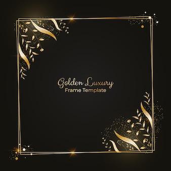 Moldura quadrada de luxo dourada realista