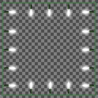 Moldura quadrada de luzes de natal