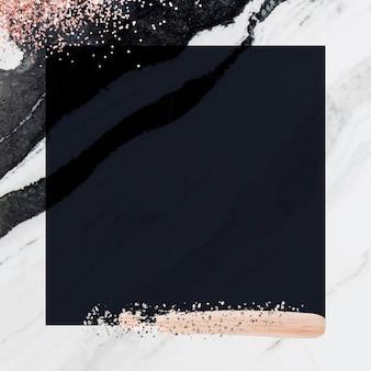 Moldura quadrada de mármore branco com vetor de glitter rosa