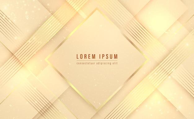 Moldura quadrada de ouro e luxo de linha dourada com fundo abstrato sombreado