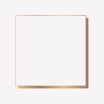 Moldura quadrada de ouro em um fundo em branco