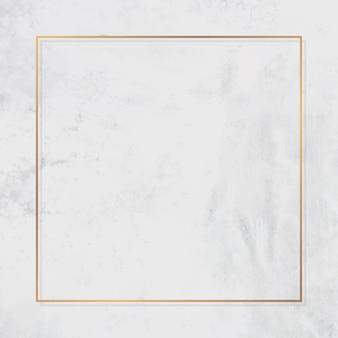Moldura quadrada de ouro em vetor de fundo de mármore branco