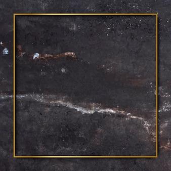 Moldura quadrada de ouro em vetor de fundo de mármore preto