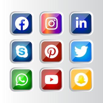 Moldura quadrada de prata brilhante botão de ícones de mídia social com efeito de gradiente definido para uso on-line ux ui