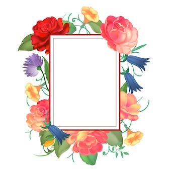 Moldura quadrada de rosas.