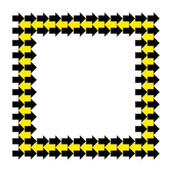 Moldura quadrada de setas amarelas pretas de vetor. borda retangular de ornamento repetitivo abstrato.