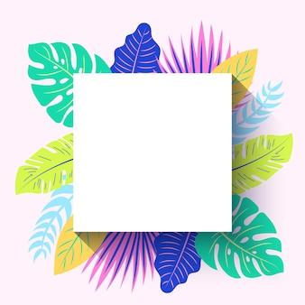 Moldura quadrada de verão tropical