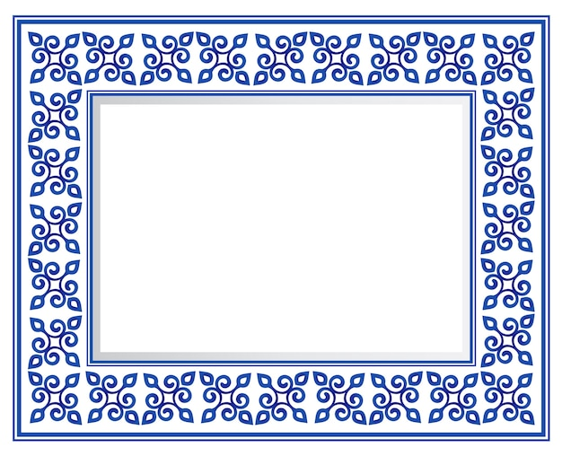 Moldura quadrada decorativa cerâmica azul e branca, borda de ornamento de porcelana linda