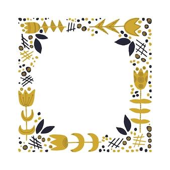 Moldura quadrada decorativa com flores e folhas de fundo