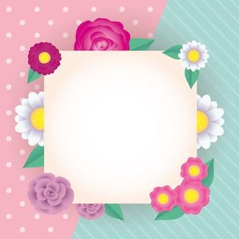Moldura quadrada decorativa de flores e folhas