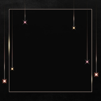 Moldura quadrada dourada com brilho estampado em fundo preto