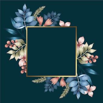 Moldura quadrada dourada com flores de inverno