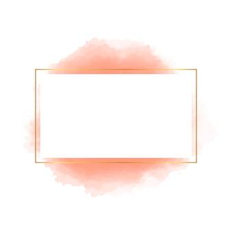 Moldura quadrada dourada com formato de aquarela laranja