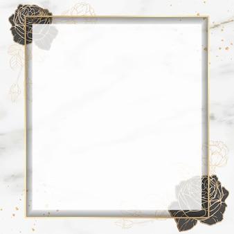 Moldura quadrada dourada em branco
