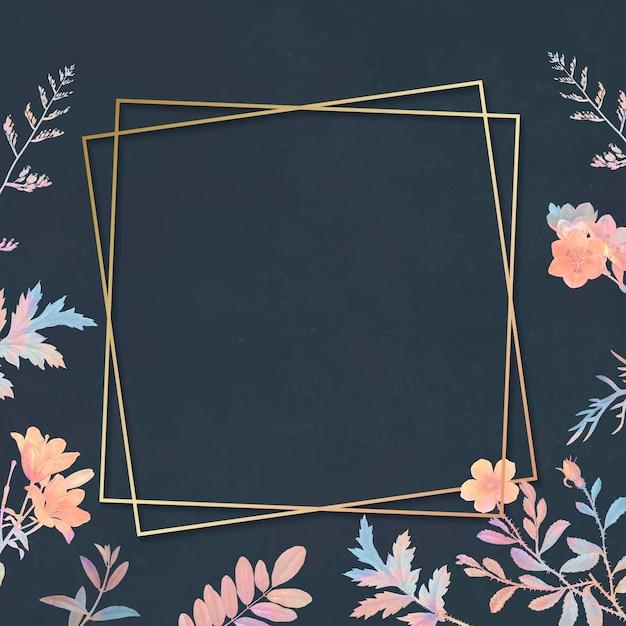 Moldura quadrada dourada floral em branco