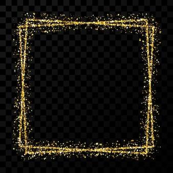 Moldura quadrada dupla em ouro. moldura brilhante moderna com efeitos de luz isolados em fundo transparente escuro. ilustração vetorial.