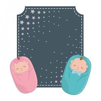 Moldura quadrada e bebês abrigados
