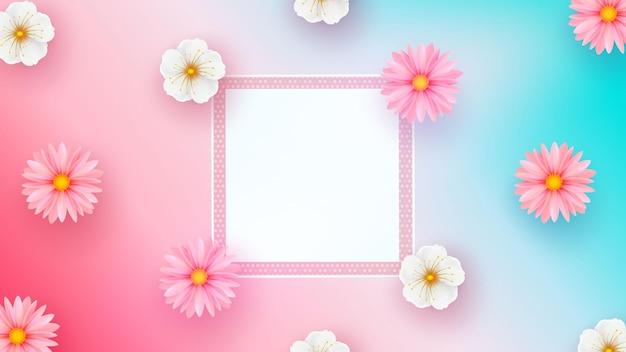 Moldura quadrada e flores sobre fundo colorido.