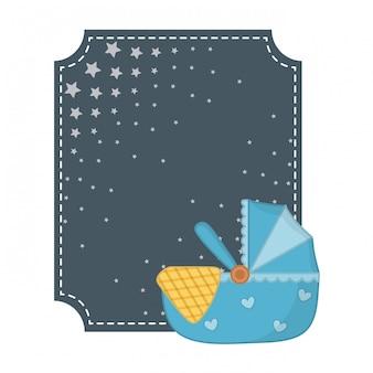 Moldura quadrada e ilustração de berço