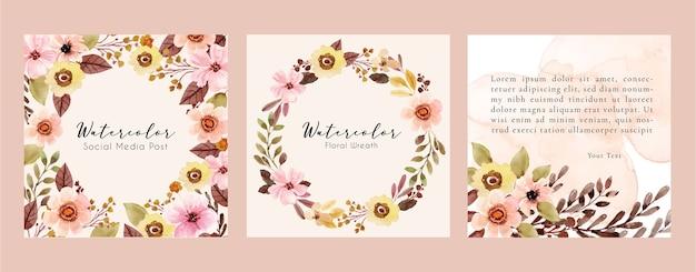 Moldura quadrada em aquarela com folhas florais rosa e marrons para postagem nas redes sociais
