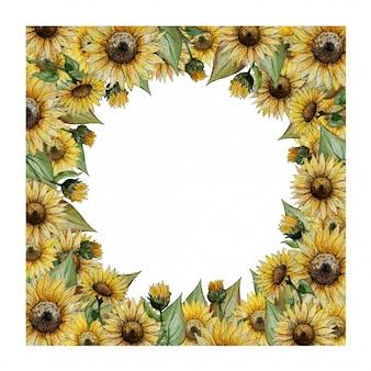 Moldura quadrada em aquarela com girassóis amarelos