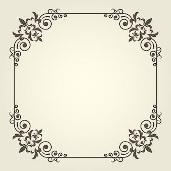 Moldura quadrada em estilo art nouveau com cantos ondulados ornamentados