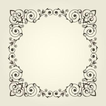 Moldura quadrada em estilo art nouveau com linhas retas