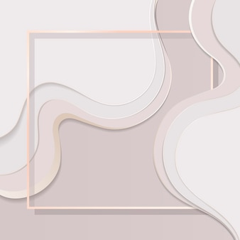Moldura quadrada em fundo com padrão de curva