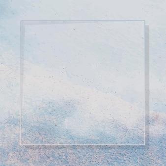 Moldura quadrada em fundo texturizado de tinta azul claro