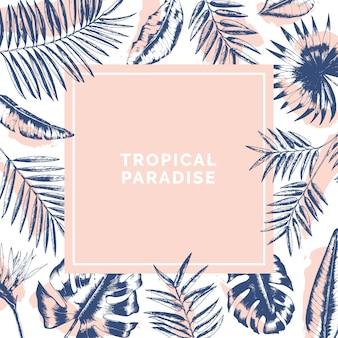 Moldura quadrada exótica feita de galhos de árvores de palma e folhas de monstera desenhadas com linhas de contorno e manchas de tinta.