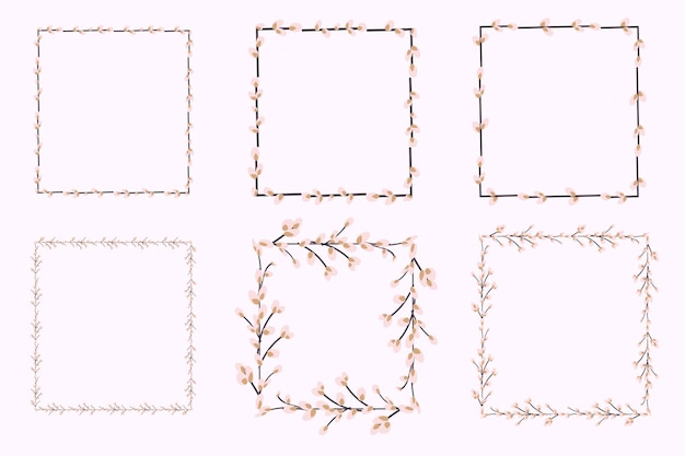 Moldura quadrada feita de ramos de salgueiro. ilustração vetorial