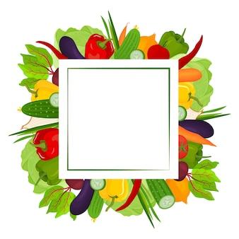 Moldura quadrada feita de vegetais frescos um espaço vazio para o texto postal