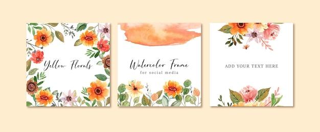 Moldura quadrada floral em aquarela para postagem nas redes sociais