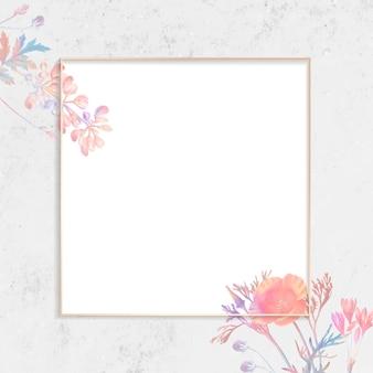 Moldura quadrada floral em branco