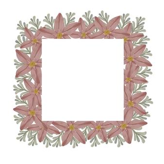 Moldura quadrada floral em rosa poeirento
