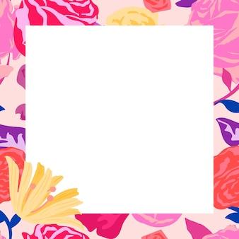 Moldura quadrada floral feminina com rosas cor de rosa em fundo branco