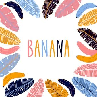 Moldura quadrada fronteira colorida com bananas.
