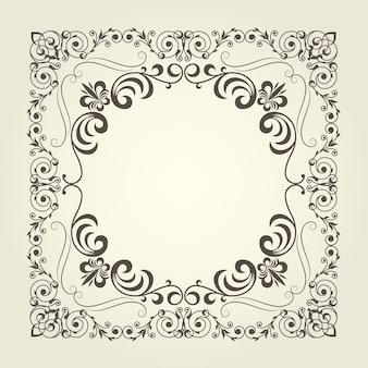Moldura quadrada ornamental em estilo art nouveau com padrão ondulado