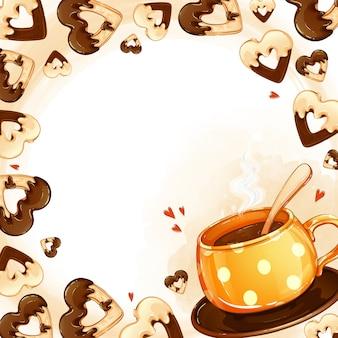 Moldura quadrada para texto ou foto com biscoitos e uma xícara de chá quente em pó. cartum de alimentos e bebidas.