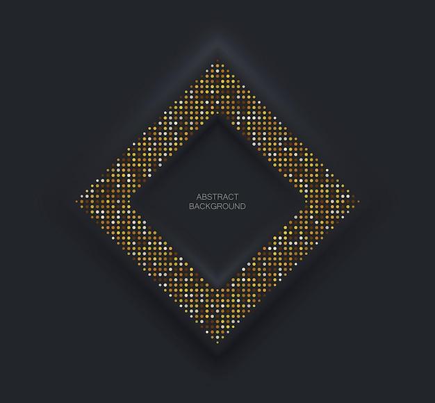 Moldura quadrada preta em estilo neomorfismo com glitter dourado