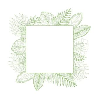 Moldura quadrada verde brilhante de folhas tropicais