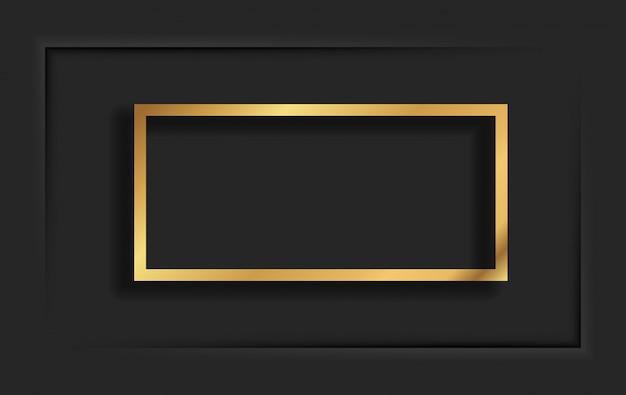 Moldura quadrada vintage dourada com sombra no fundo preto. borda retangular de luxo dourado - ilustração realista