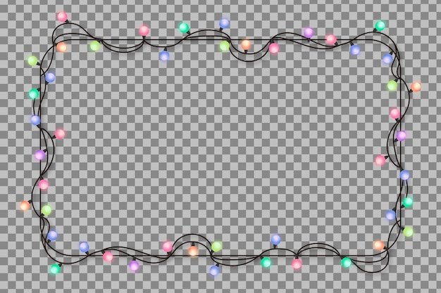 Moldura realista com luzes de natal