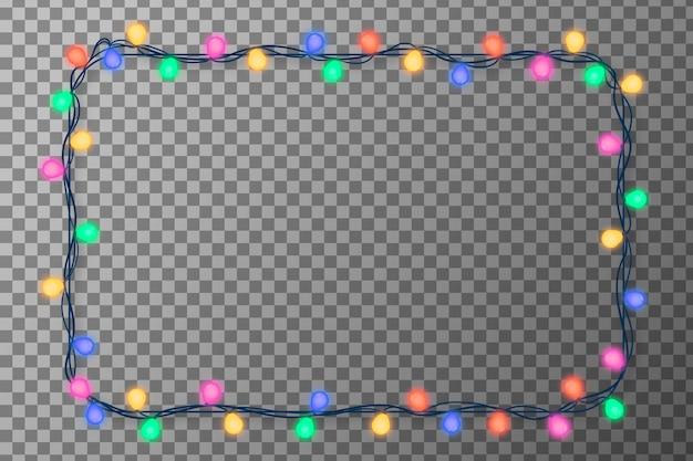 Moldura realista de luzes de natal