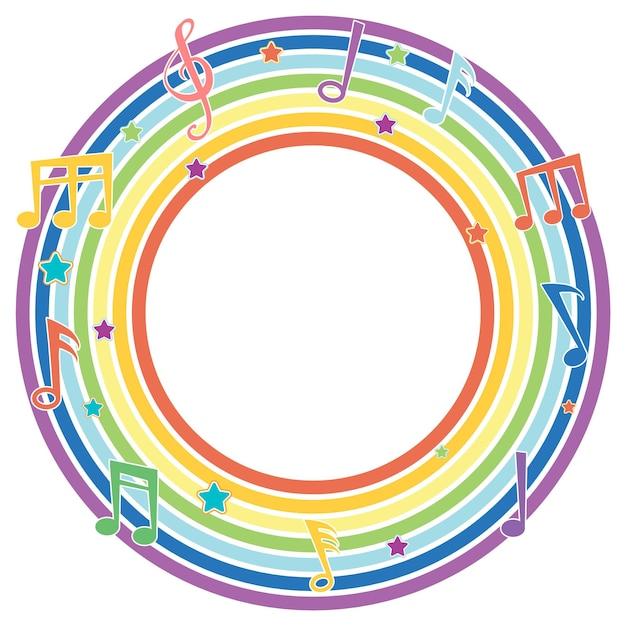Moldura redonda arco-íris com símbolos de melodia musical