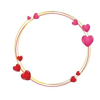 Moldura redonda com corações