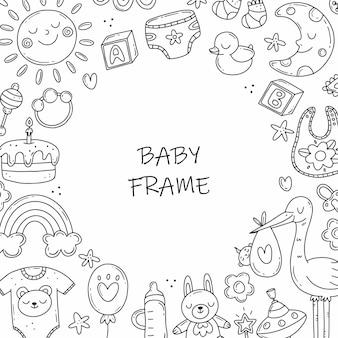 Moldura redonda com elementos em preto e branco sobre o tema do nascimento de uma criança em estilo doodle