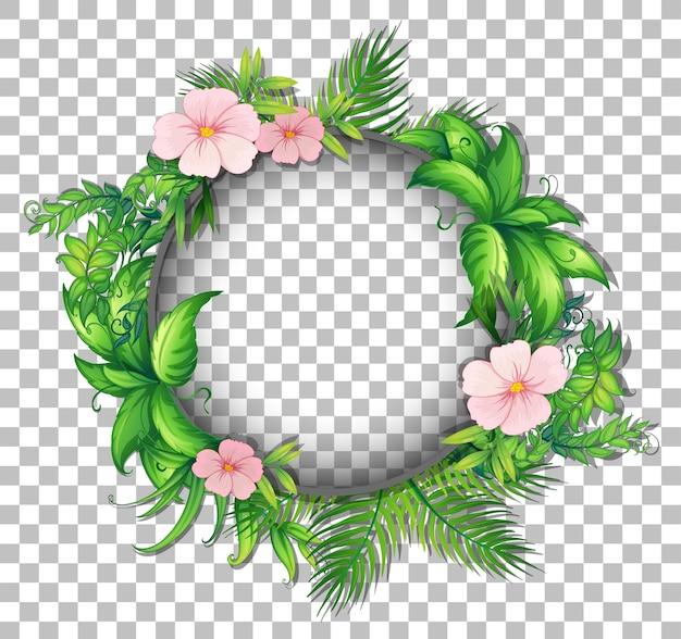 Moldura redonda com flores de hibisco em fundo transparente